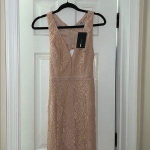 Blush pink long lace dress